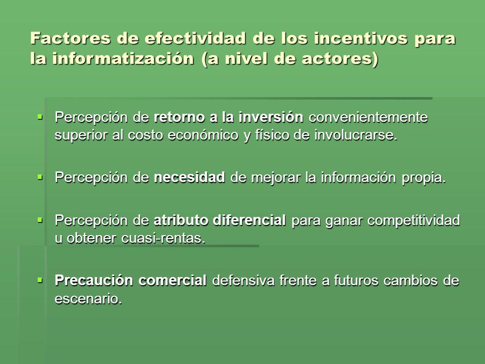 Factores de efectividad de los incentivos para la informatización (a nivel de actores)