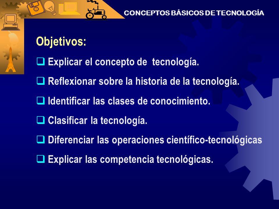 Objetivos: Explicar el concepto de tecnología.