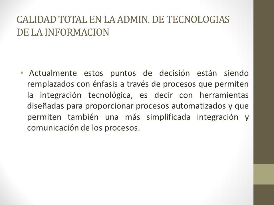 CALIDAD TOTAL EN LA ADMIN. DE TECNOLOGIAS DE LA INFORMACION