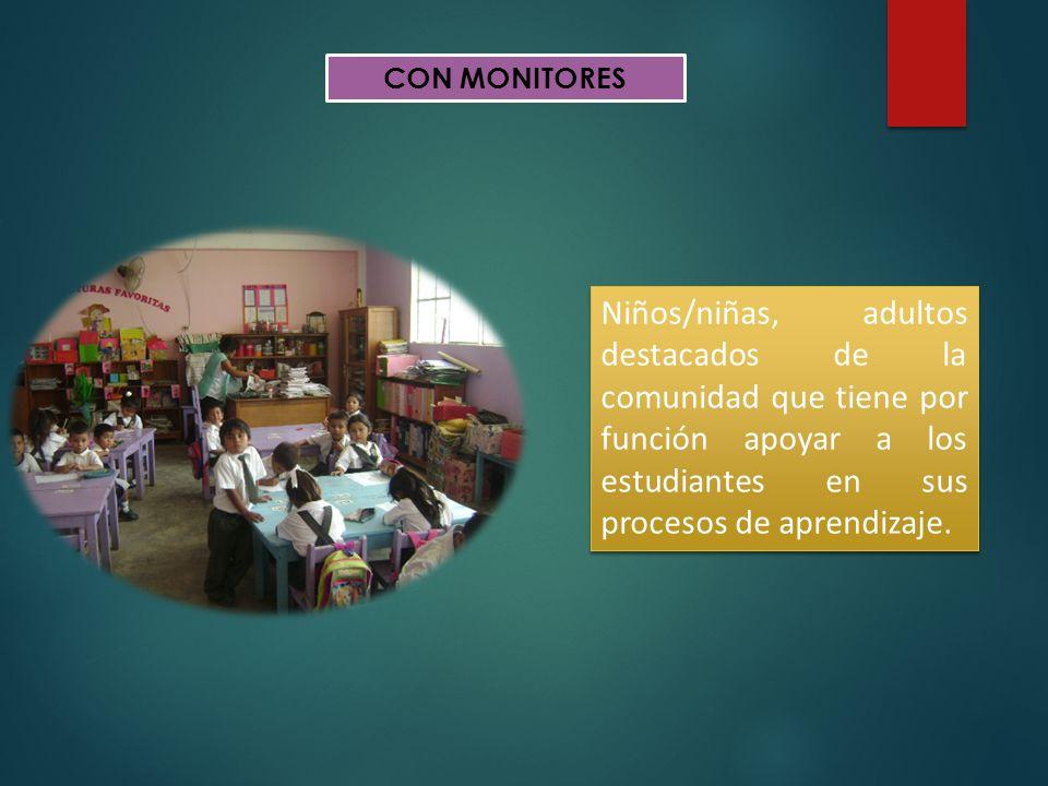CON MONITORES Niños/niñas, adultos destacados de la comunidad que tiene por función apoyar a los estudiantes en sus procesos de aprendizaje.