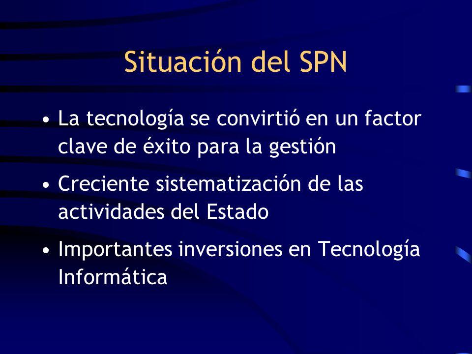 Situación del SPN La tecnología se convirtió en un factor clave de éxito para la gestión. Creciente sistematización de las actividades del Estado.