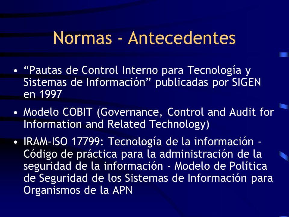 Normas - Antecedentes Pautas de Control Interno para Tecnología y Sistemas de Información publicadas por SIGEN en 1997.