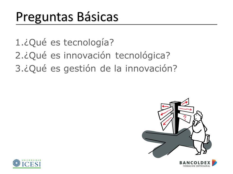 Preguntas Básicas ¿Qué es tecnología ¿Qué es innovación tecnológica