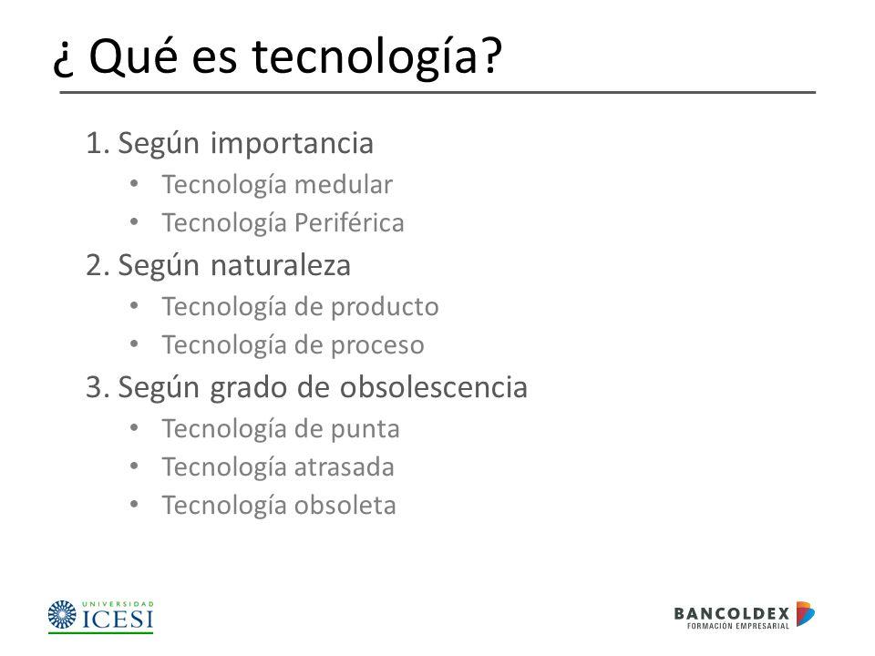 ¿ Qué es tecnología Según importancia Según naturaleza