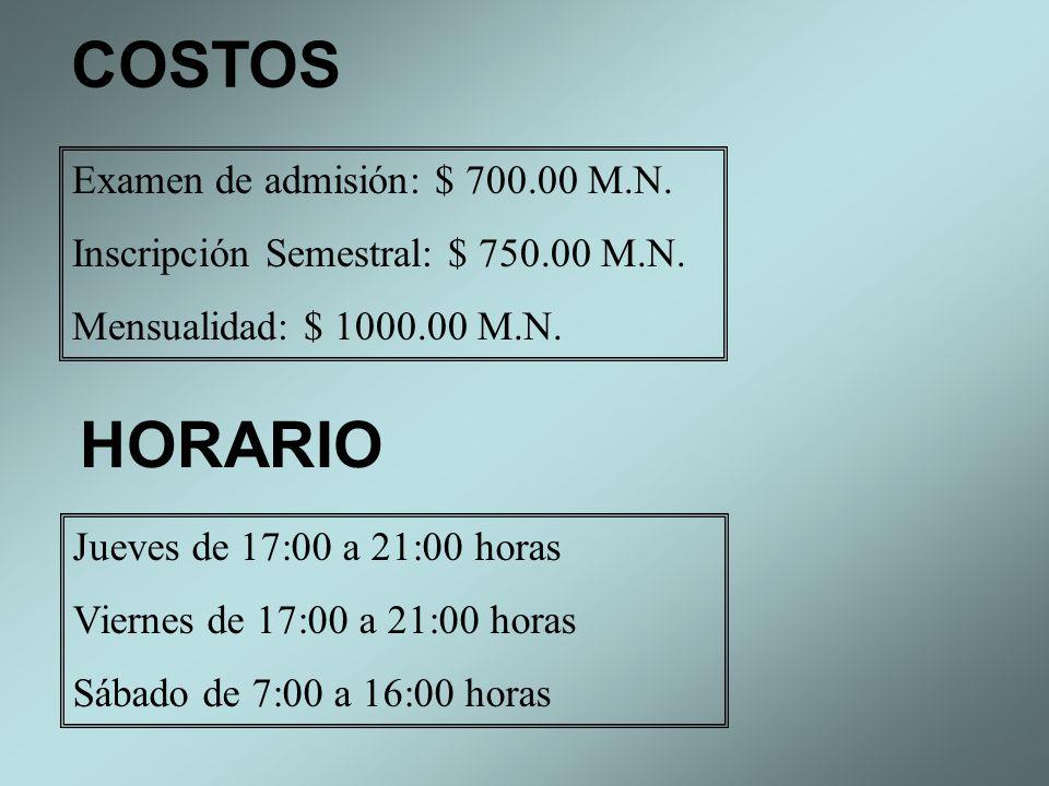 COSTOS HORARIO Examen de admisión: $ 700.00 M.N.