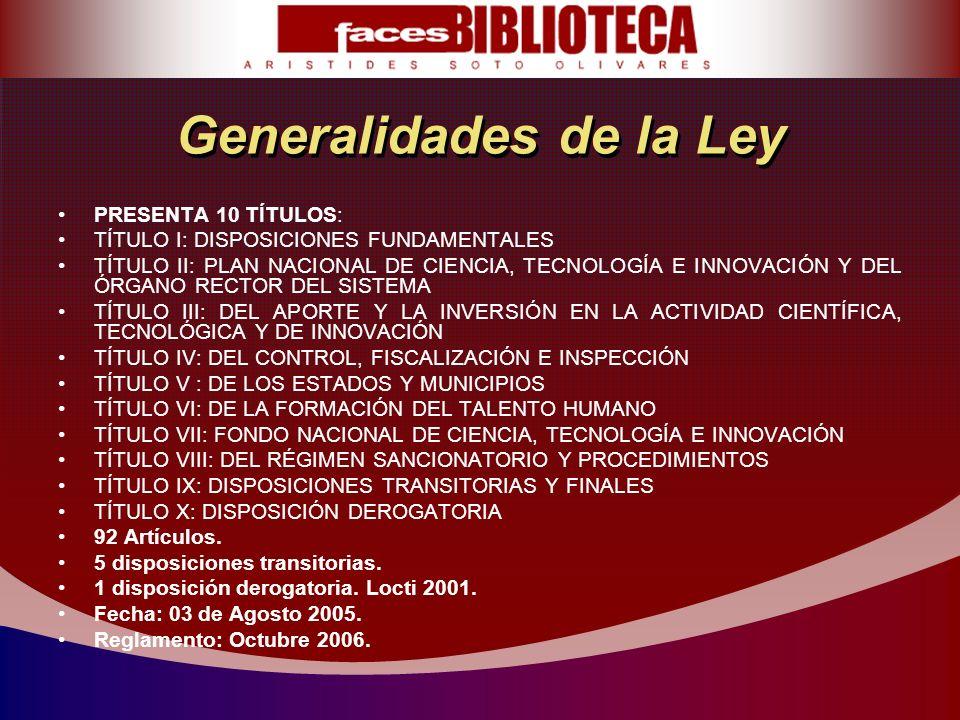 Generalidades de la Ley