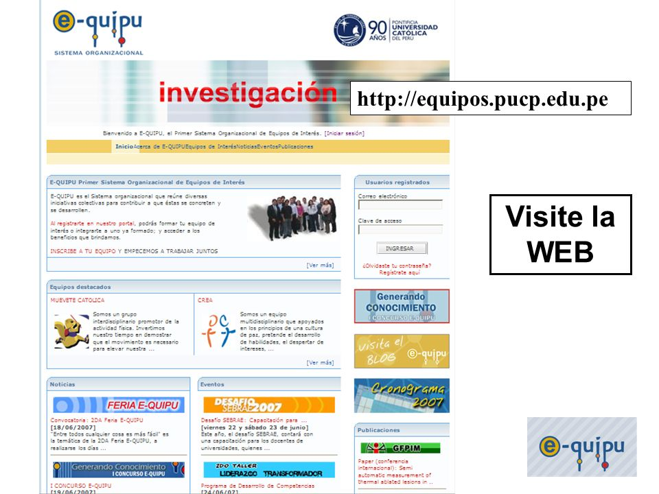 http://equipos.pucp.edu.pe Visite la WEB