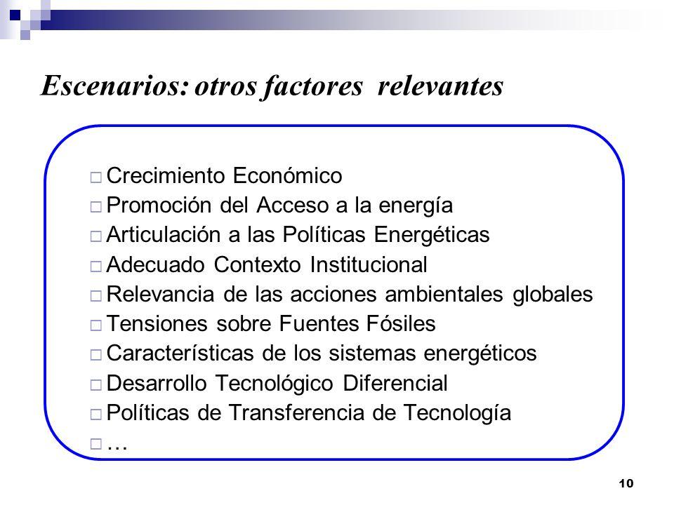 Escenarios: otros factores relevantes