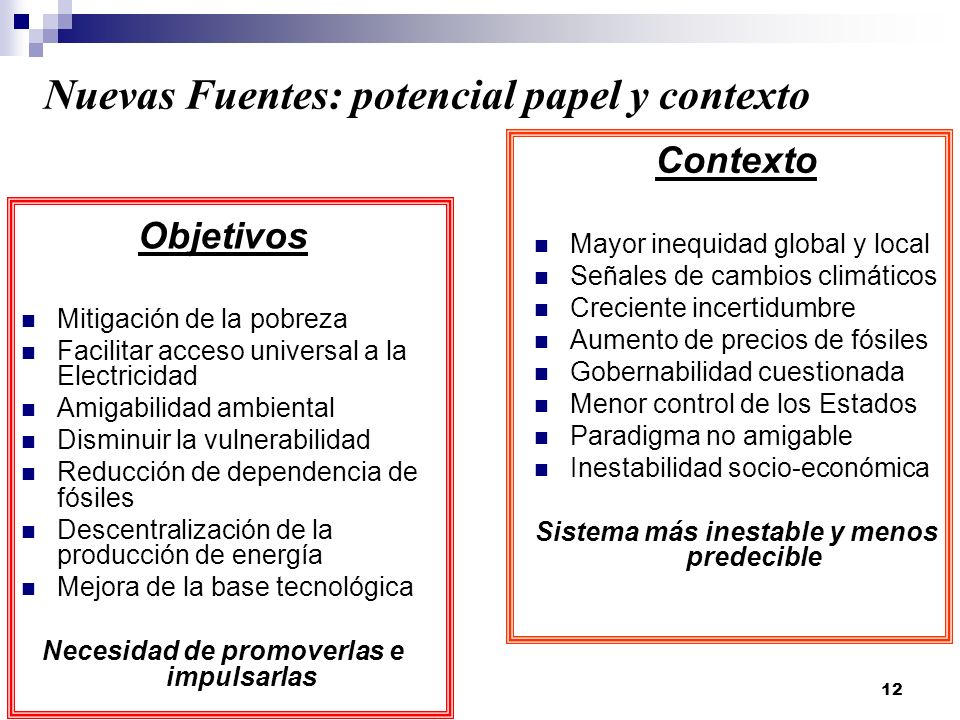 Nuevas Fuentes: potencial papel y contexto
