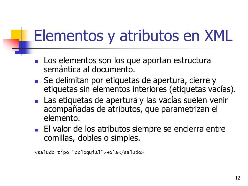 Elementos y atributos en XML