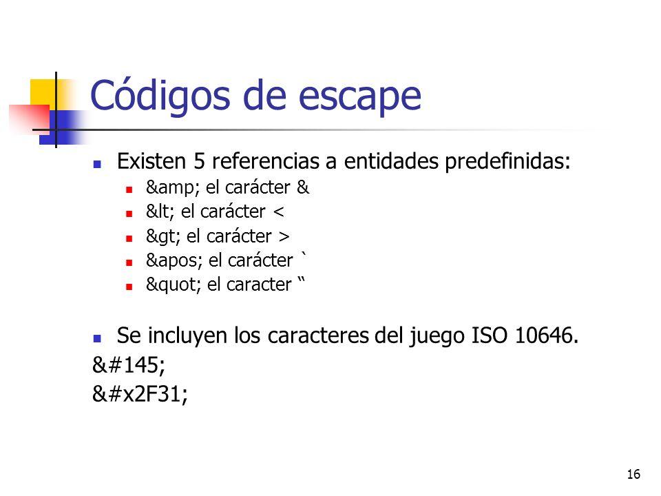 Códigos de escape Existen 5 referencias a entidades predefinidas: