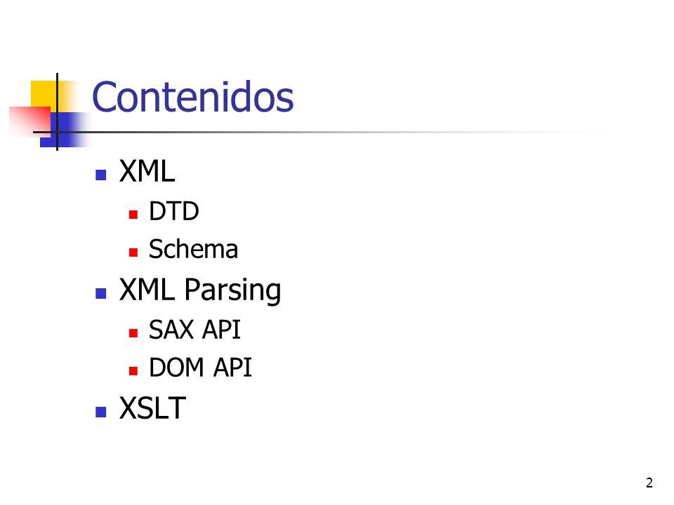 Contenidos XML DTD Schema XML Parsing SAX API DOM API XSLT