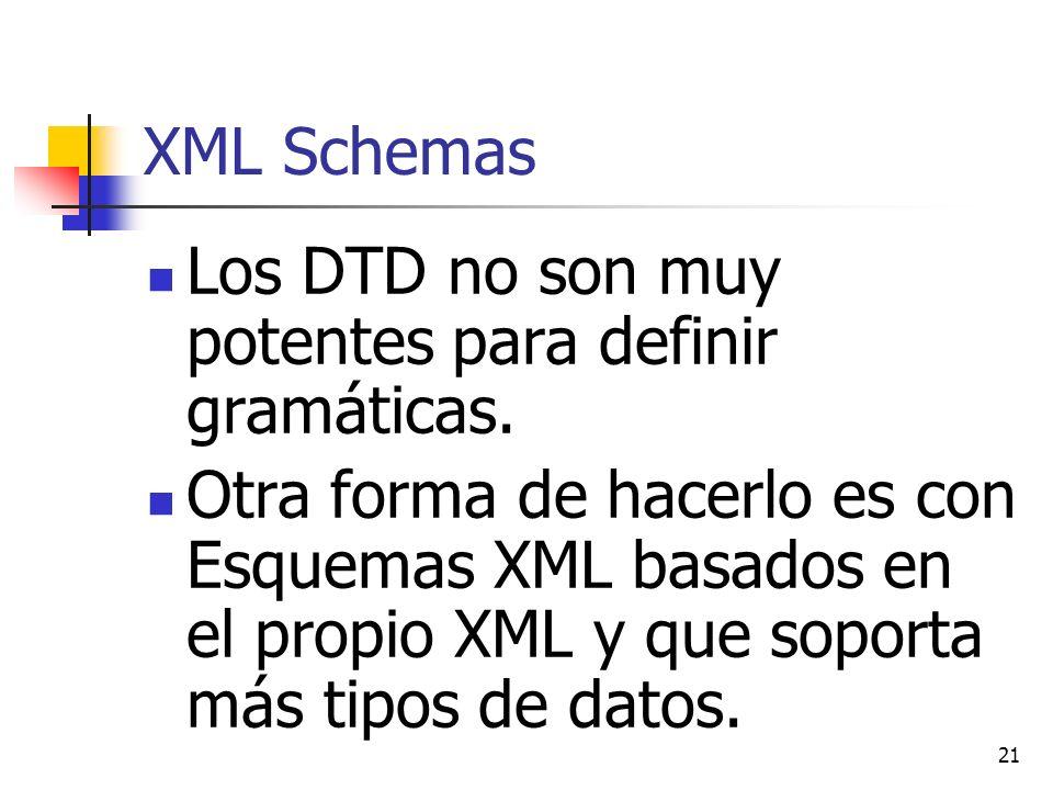XML Schemas Los DTD no son muy potentes para definir gramáticas.