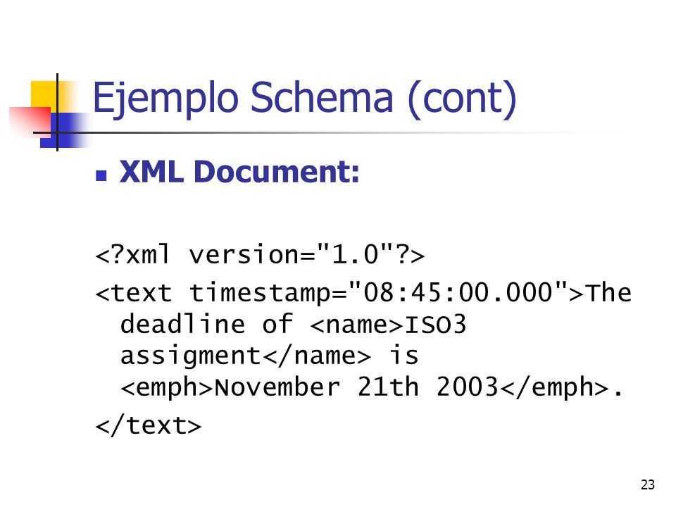 Ejemplo Schema (cont) XML Document: < xml version= 1.0 >