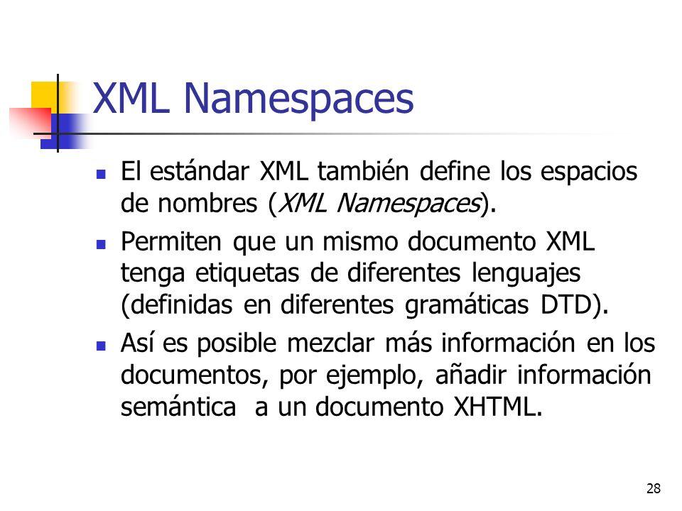 XML Namespaces El estándar XML también define los espacios de nombres (XML Namespaces).