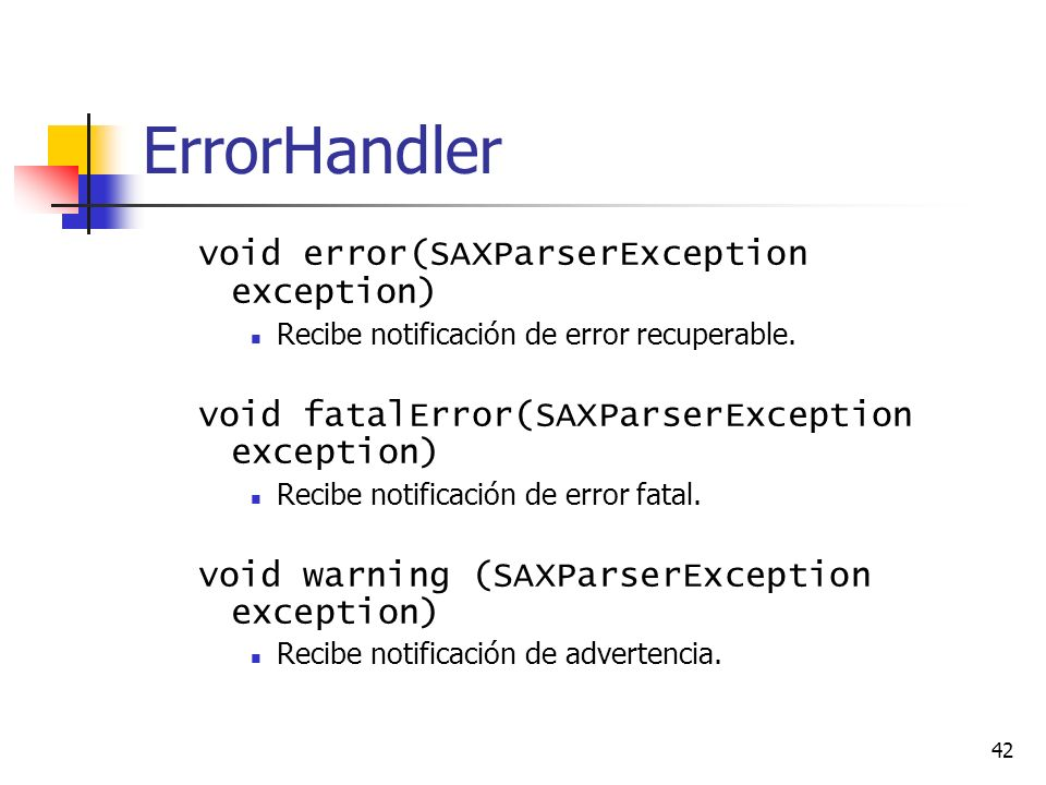 ErrorHandler void error(SAXParserException exception)