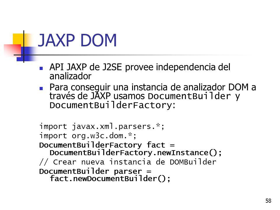 JAXP DOM API JAXP de J2SE provee independencia del analizador