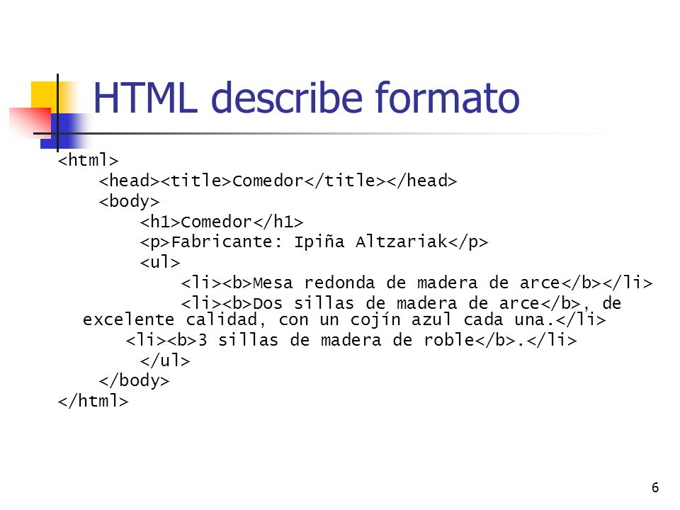 HTML describe formato <html>
