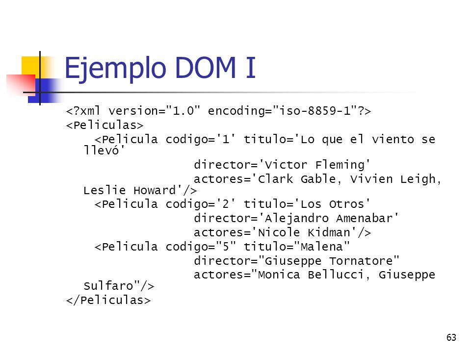 Ejemplo DOM I < xml version= 1.0 encoding= iso-8859-1 >