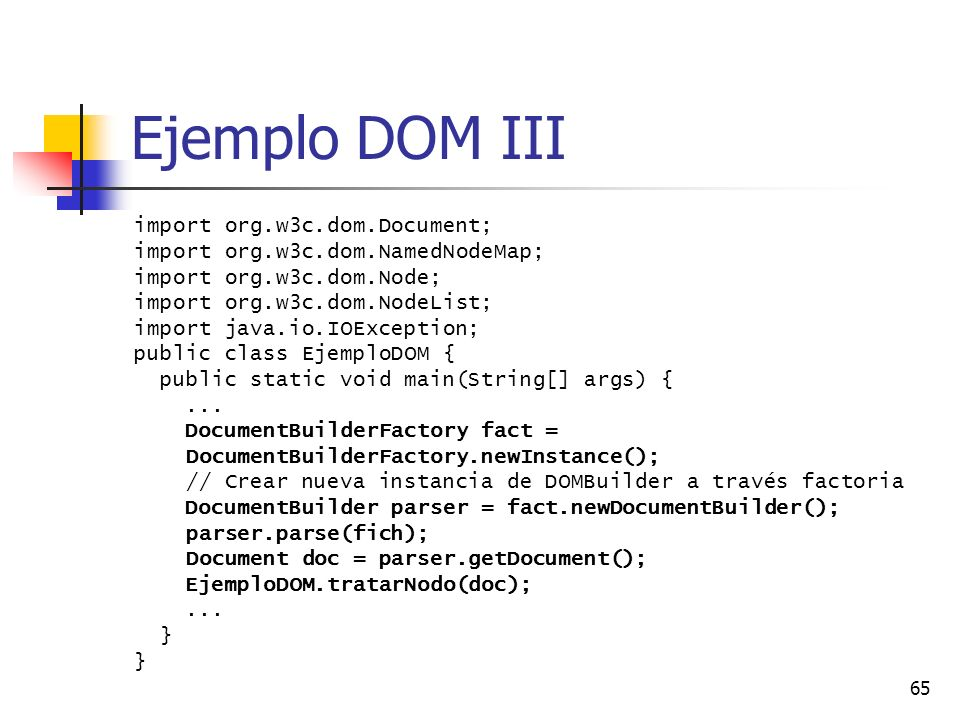 Ejemplo DOM III import org.w3c.dom.Document;
