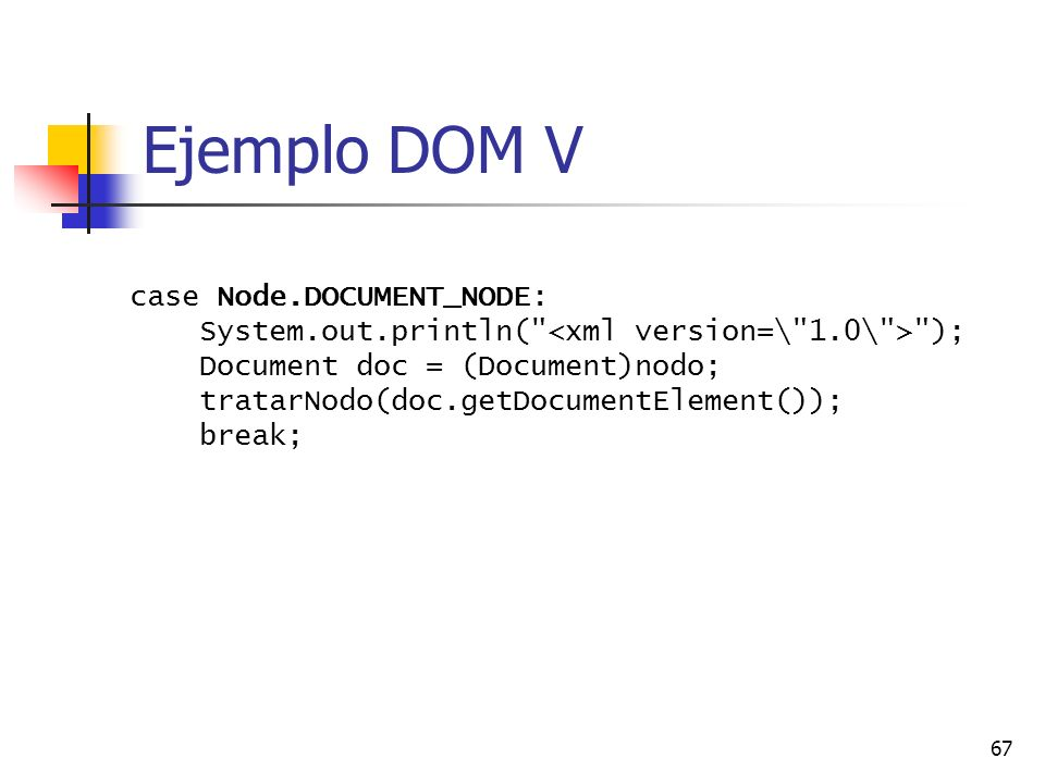 Ejemplo DOM V case Node.DOCUMENT_NODE: