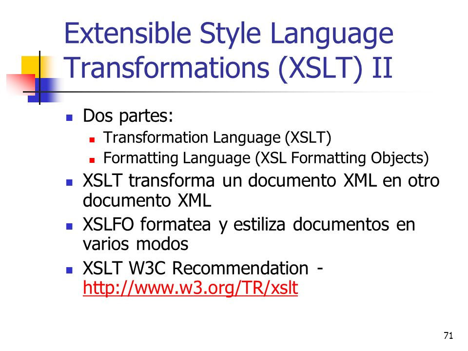 Extensible Style Language Transformations (XSLT) II
