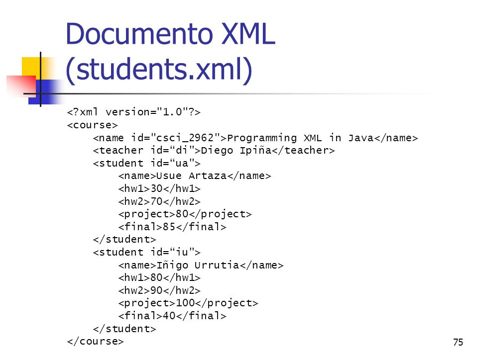 Documento XML (students.xml)