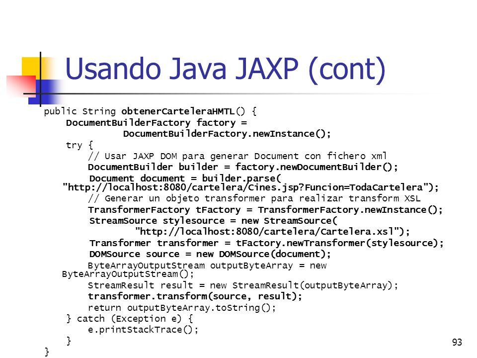 Usando Java JAXP (cont)