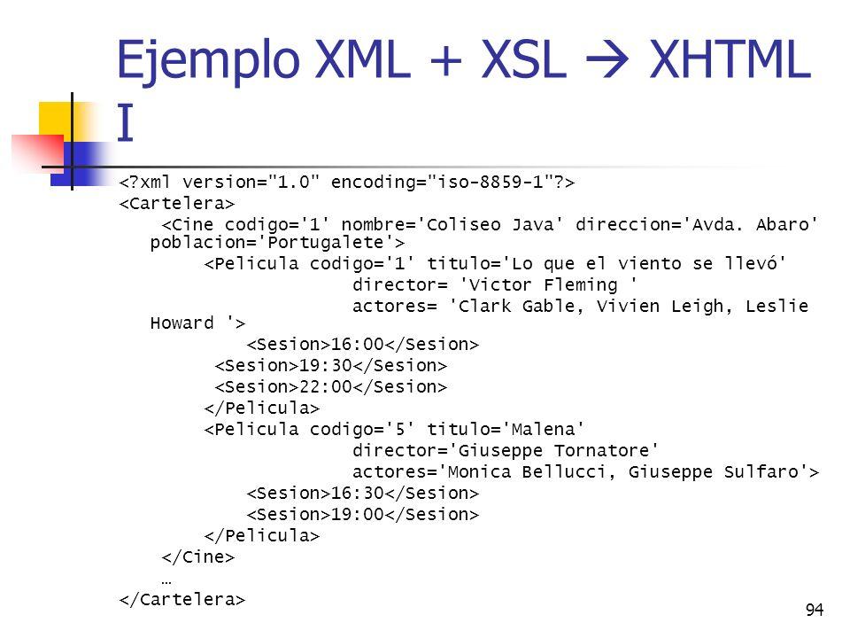 Ejemplo XML + XSL  XHTML I