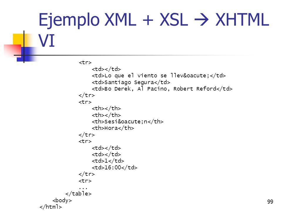 Ejemplo XML + XSL  XHTML VI