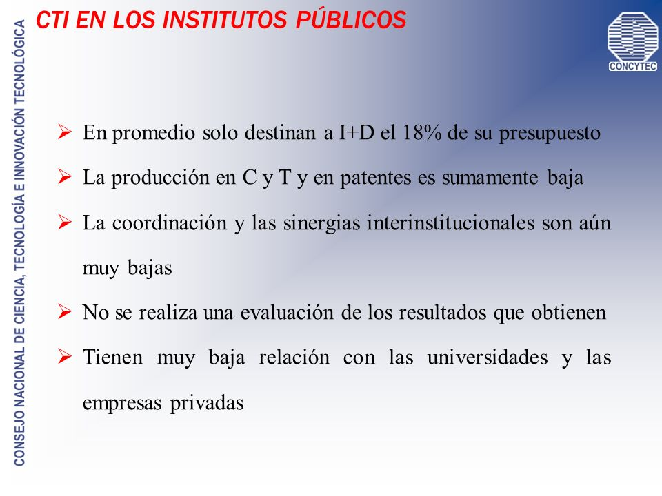 CTI EN LOS INSTITUTOS PÚBLICOS
