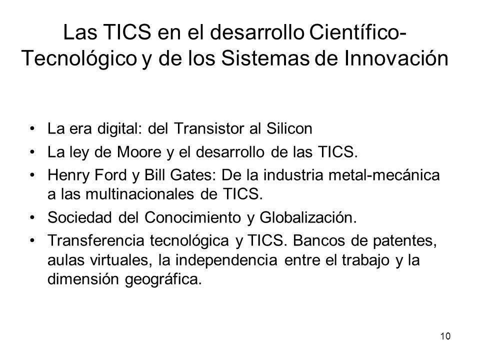 Las TICS en el desarrollo Científico-Tecnológico y de los Sistemas de Innovación