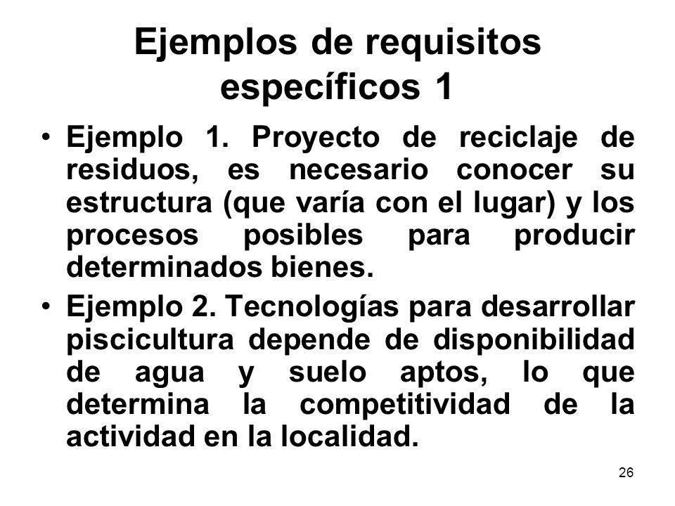 Ejemplos de requisitos específicos 1