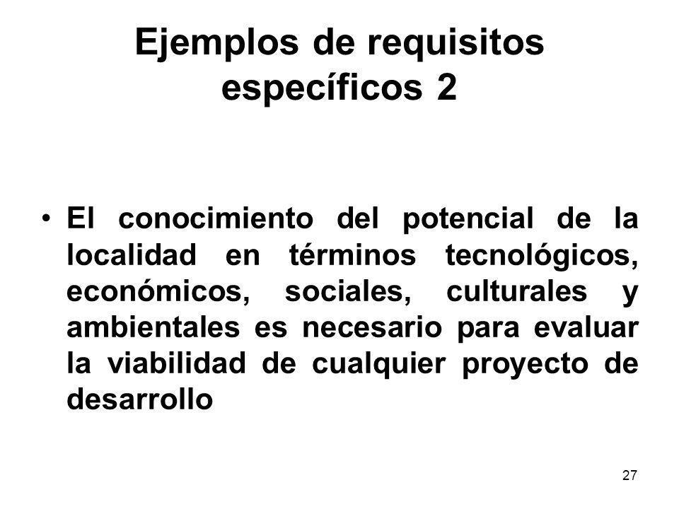 Ejemplos de requisitos específicos 2