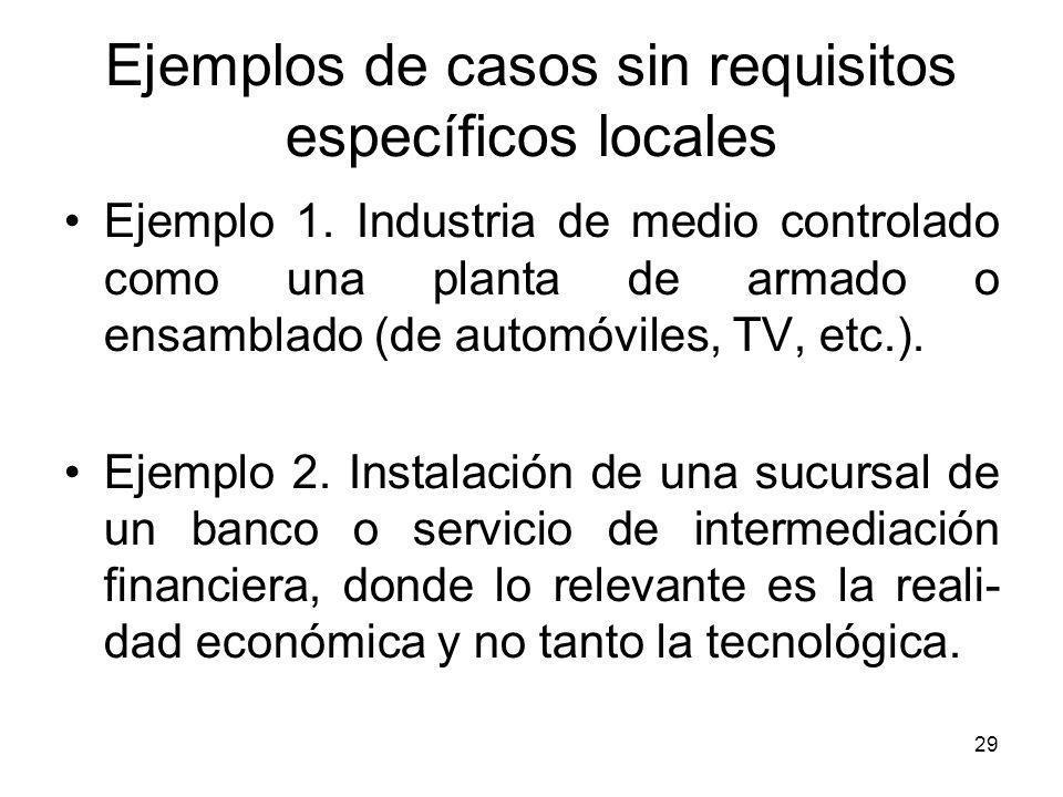 Ejemplos de casos sin requisitos específicos locales