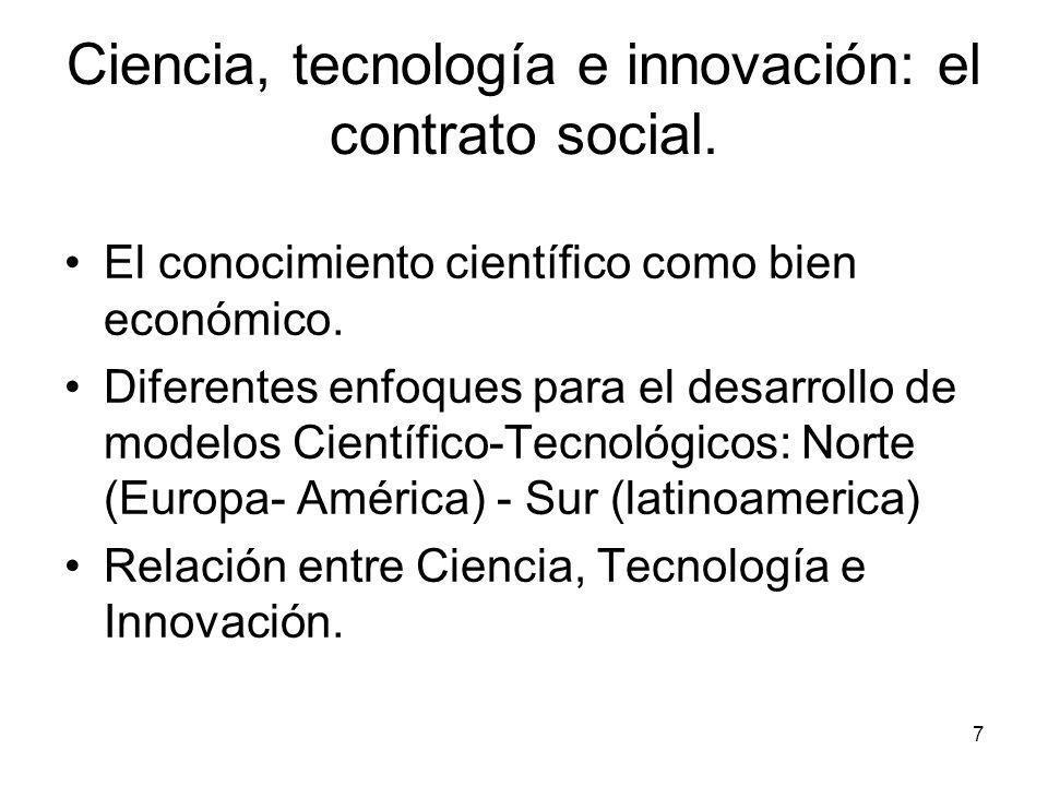 Ciencia, tecnología e innovación: el contrato social.