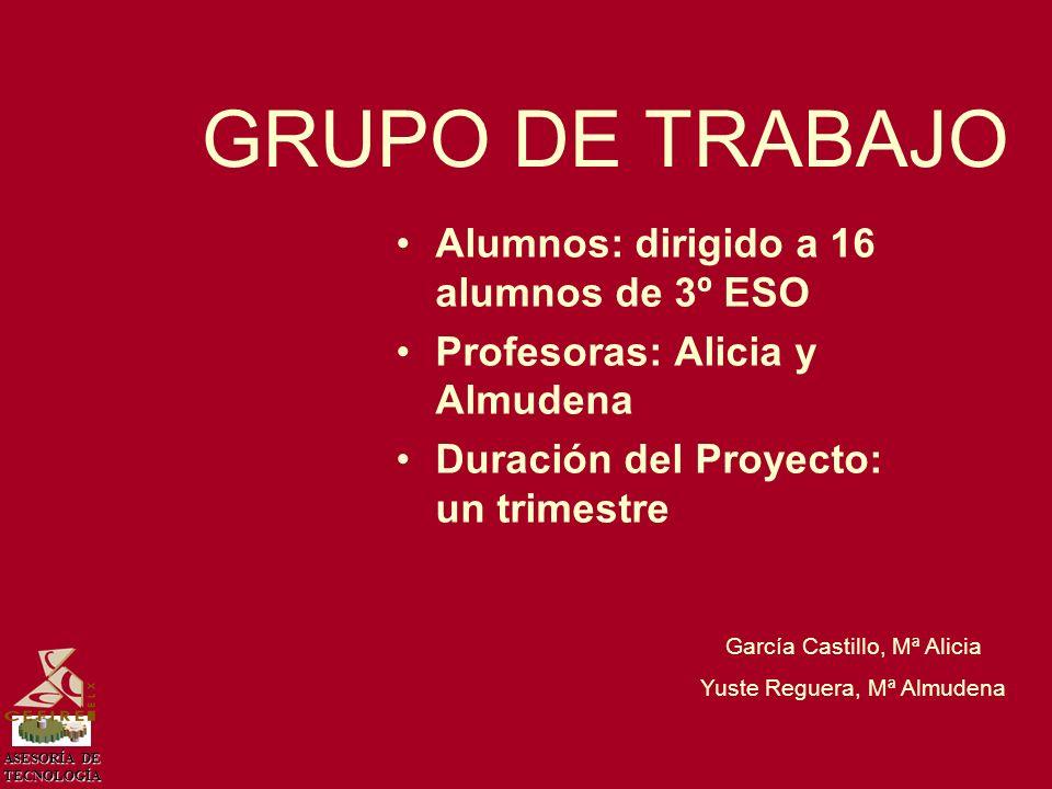 GRUPO DE TRABAJO Alumnos: dirigido a 16 alumnos de 3º ESO