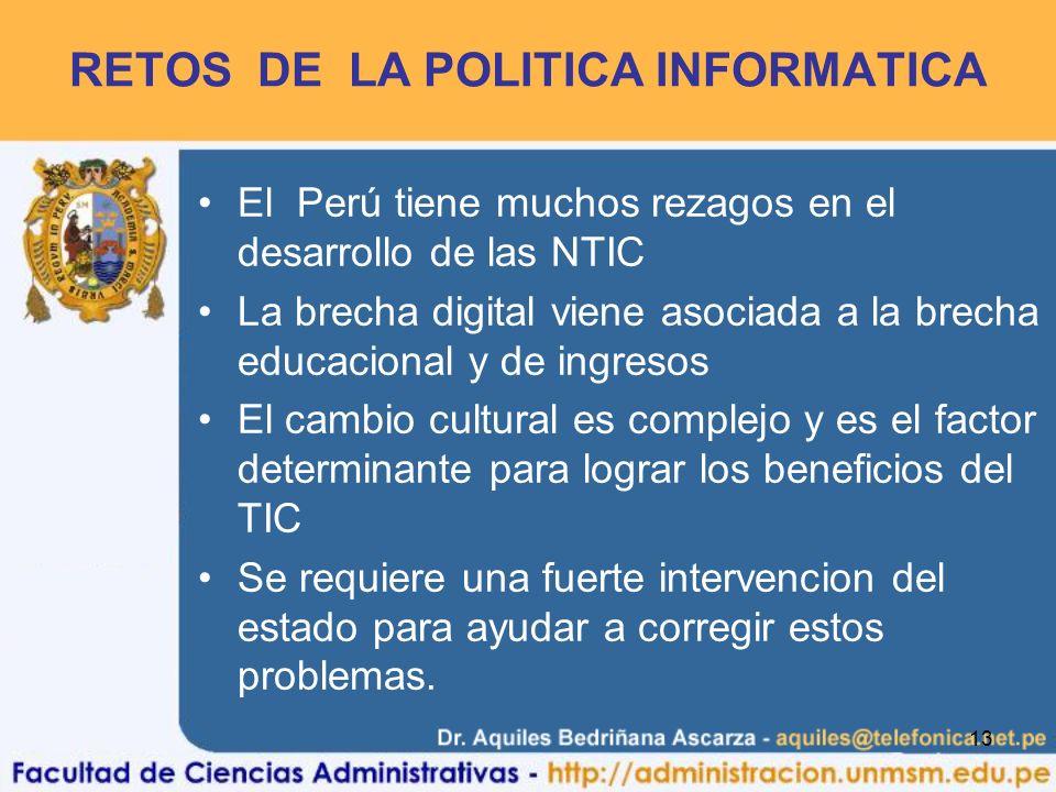 RETOS DE LA POLITICA INFORMATICA