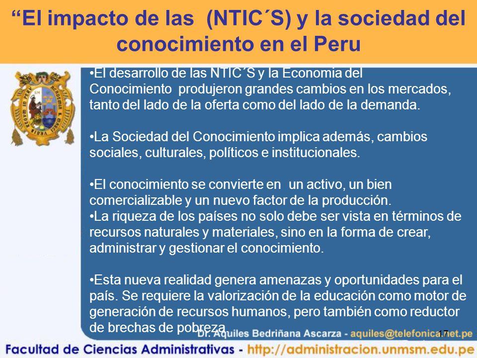 El impacto de las (NTIC´S) y la sociedad del conocimiento en el Peru