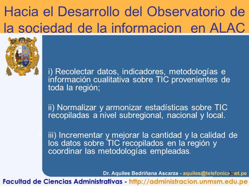 Hacia el Desarrollo del Observatorio de la sociedad de la informacion en ALAC