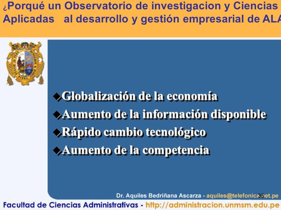 Globalización de la economía Aumento de la información disponible