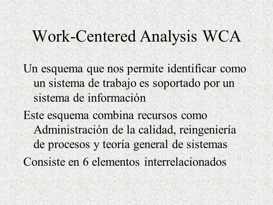 Work-Centered Analysis WCA