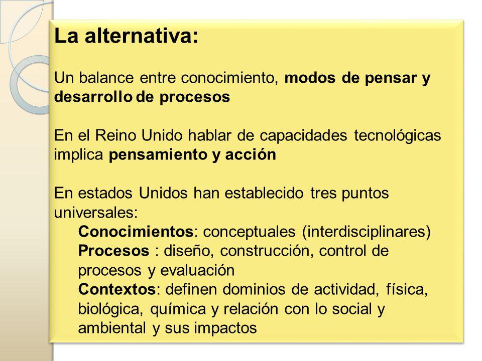 La alternativa: Un balance entre conocimiento, modos de pensar y desarrollo de procesos.