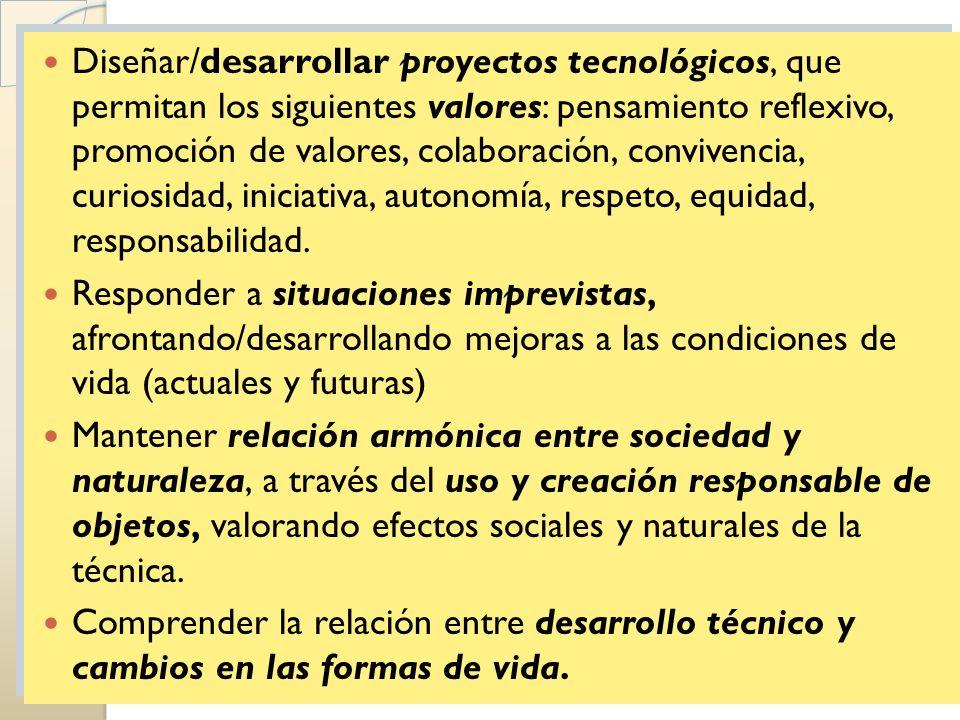 Diseñar/desarrollar proyectos tecnológicos, que permitan los siguientes valores: pensamiento reflexivo, promoción de valores, colaboración, convivencia, curiosidad, iniciativa, autonomía, respeto, equidad, responsabilidad.