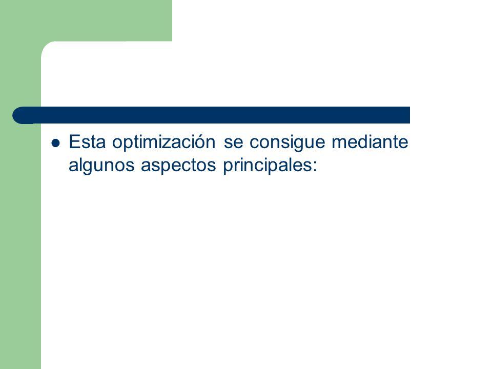 Esta optimización se consigue mediante algunos aspectos principales: