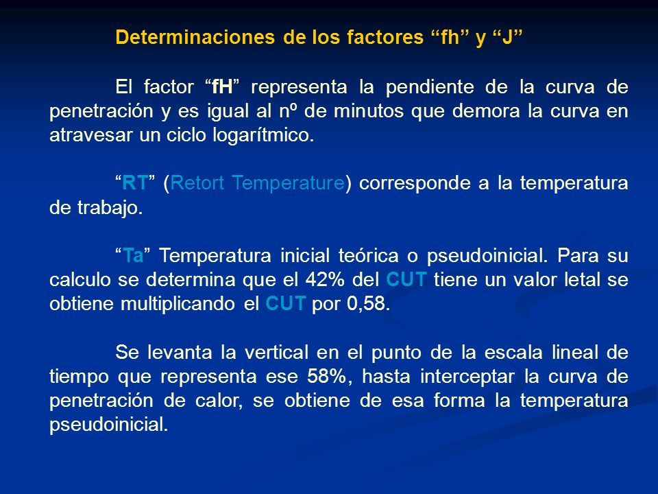 Determinaciones de los factores fh y J