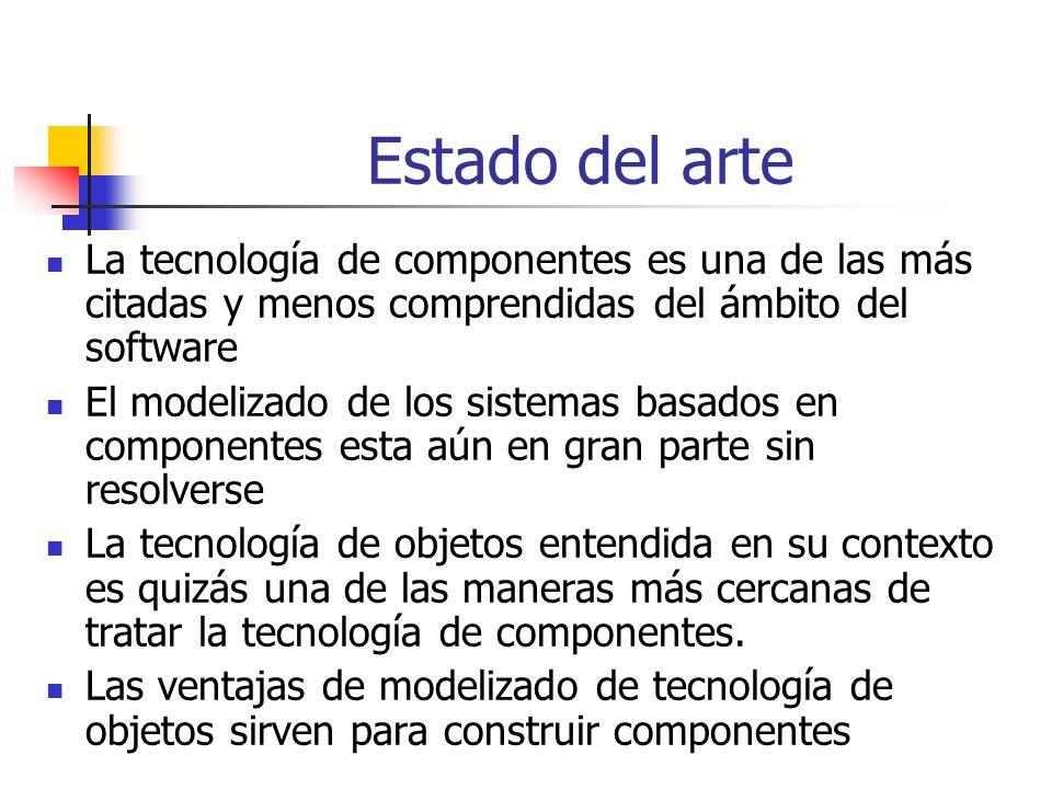 Estado del arte La tecnología de componentes es una de las más citadas y menos comprendidas del ámbito del software.