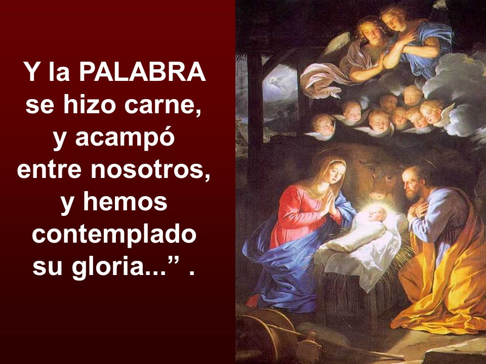 Y la PALABRA se hizo carne, y acampó entre nosotros, y hemos contemplado su gloria... .