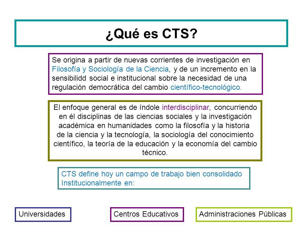 ¿Qué es CTS Se origina a partir de nuevas corrientes de investigación en. Filosofía y Sociología de la Ciencia, y de un incremento en la.