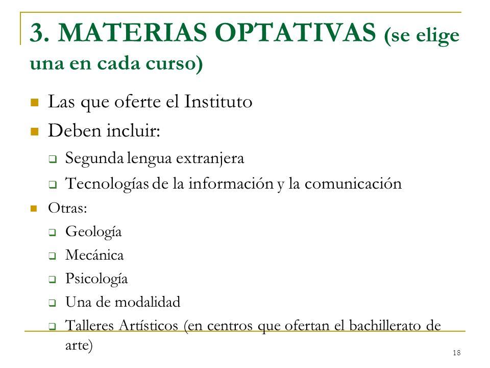 3. MATERIAS OPTATIVAS (se elige una en cada curso)